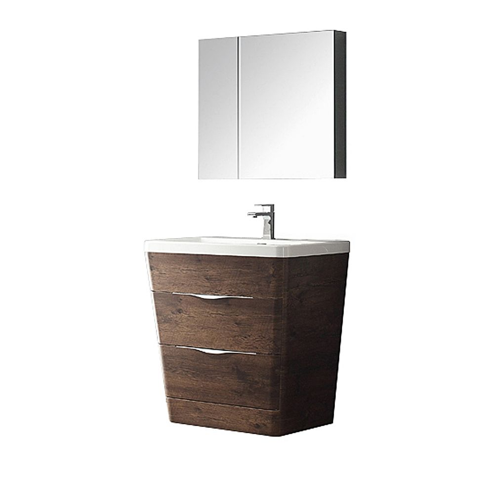 Milano 32-inch W Vanity in Rosewood Finish with Medicine Cabinet