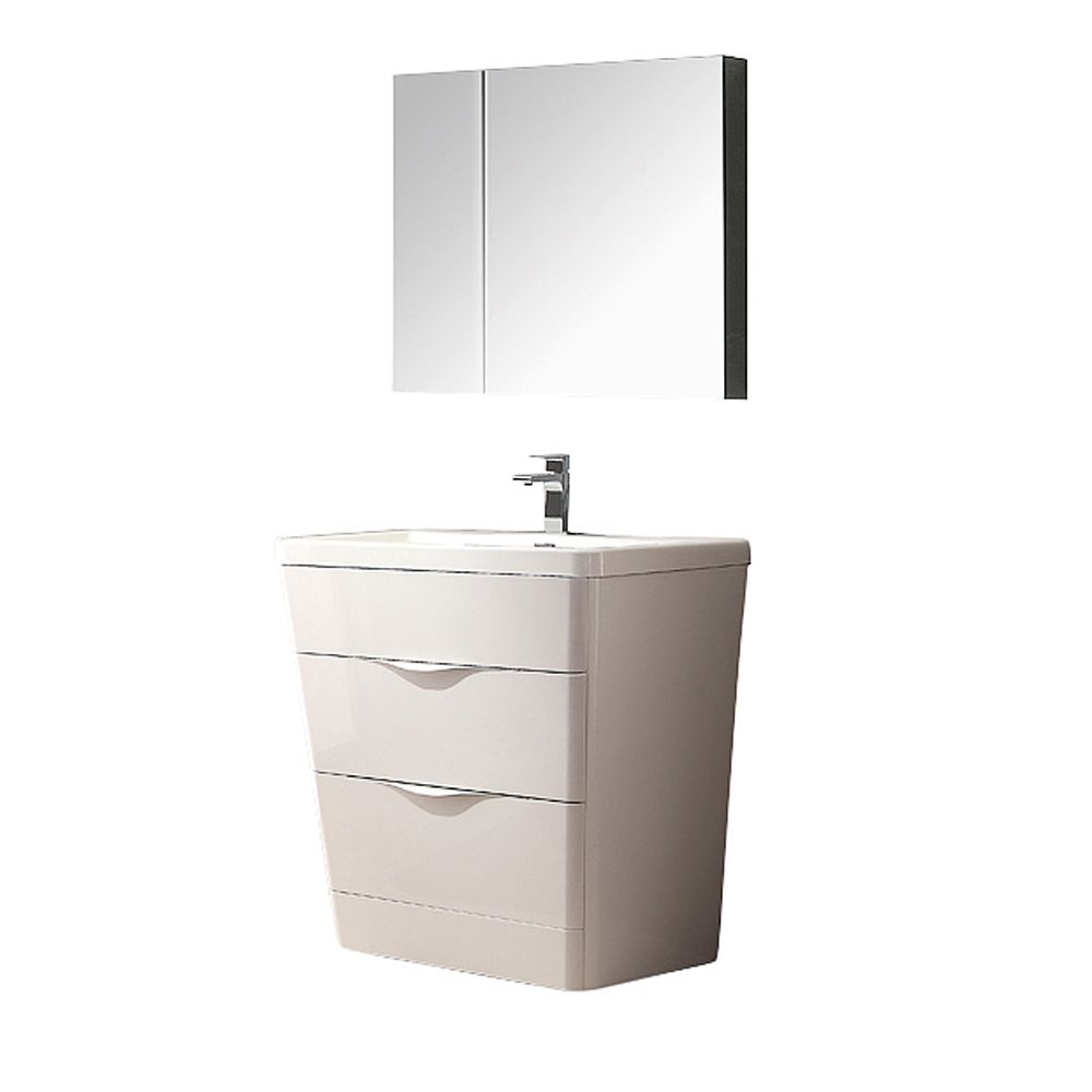 Milano 32-inch W Vanity in Glossy White Finish with Medicine Cabinet