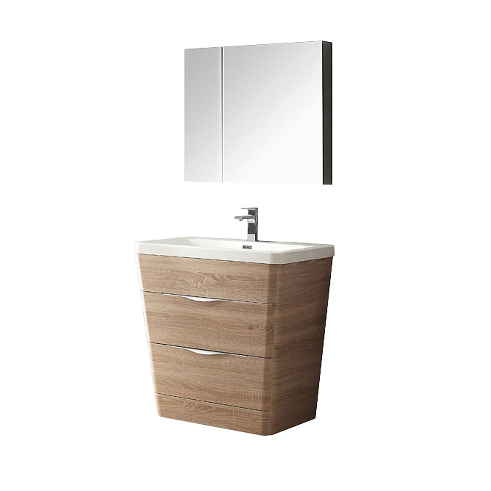 Milano 32-inch W Vanity in White Oak Finish with Medicine Cabinet