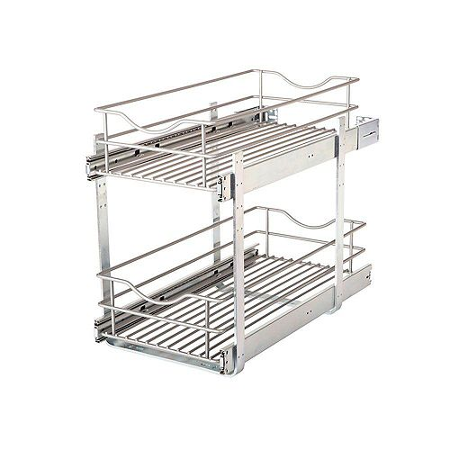 Real Solutions 11.625 in. W x 21.75 in. D x 16.25 in. H Double Tier Pull-Out Multi-Use Basket Cabinet Organizer