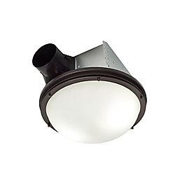Nutone InVent Decorative Oil-Rubbed Bronze 80 CFM Ceiling Exhaust Fan with Light and White Globe - ENERGY STAR®