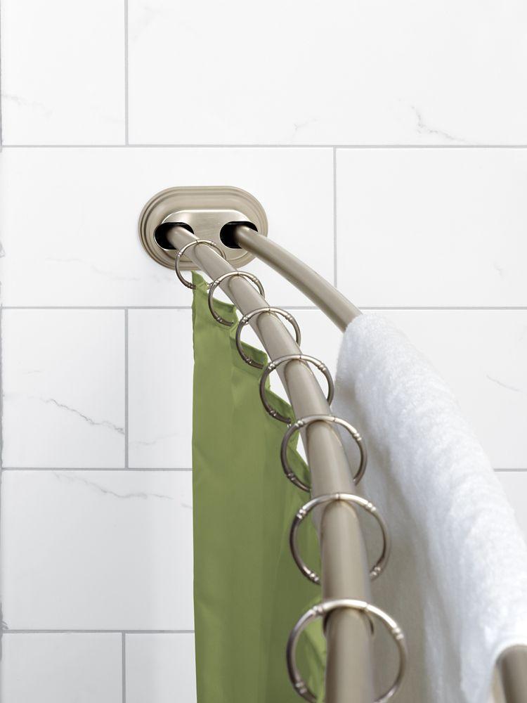 Tringle à rideau de douche incurvée double en aluminium Zenna Home NeverRust<sup>®</sup> à montag...