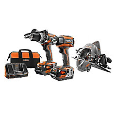 18V Cordless Brushless Combo Kit (3-Piece) with Hammer Drill, Impact Driver and Circular Saw