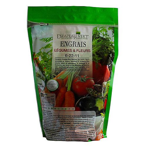 6-22-11 engrais pour les légumes et les fleurs, sac de 1 kg.