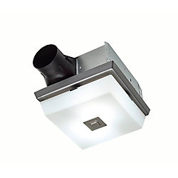 Nutone InVent Decorative Polished Steel 70 CFM Ceiling Exhaust Fan with White Globe and Light