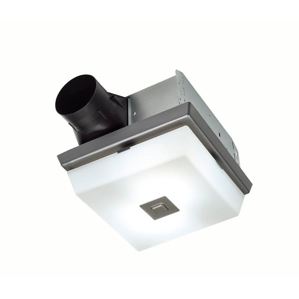 Ventilateur de salle de bain décoratif, finition en acier poli, 70 PCM, 2.0 Sones