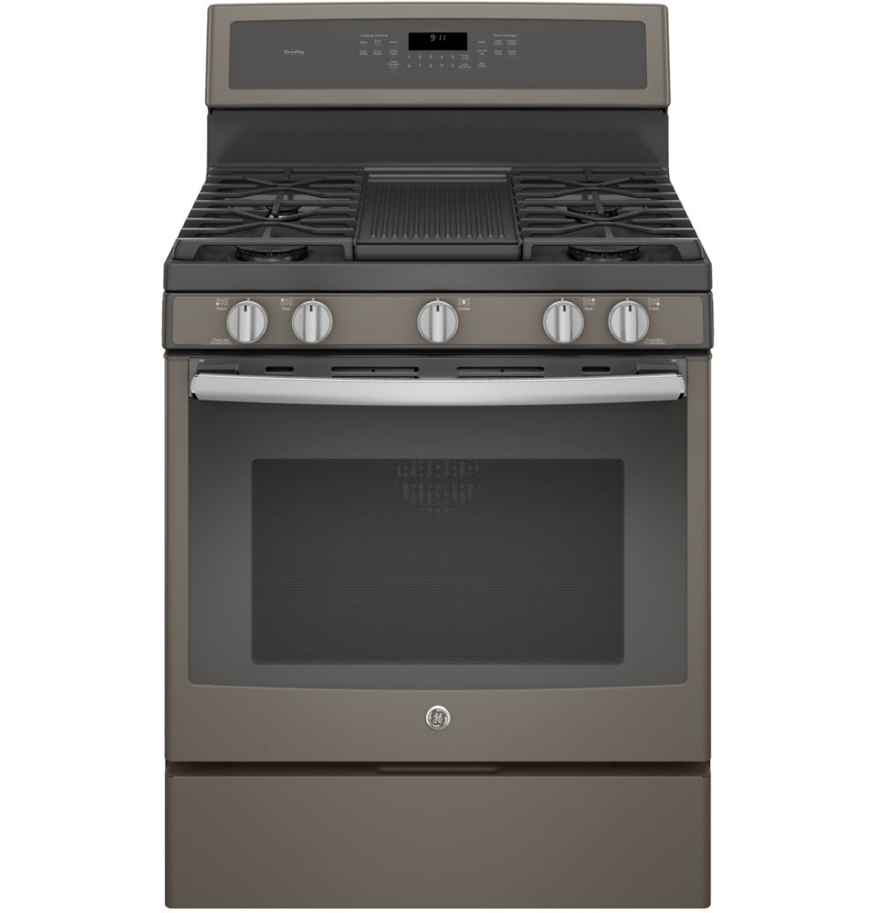 5.6 cu. ft. 30-inch Free-Standing Convection Gas Range Steam Clean in Slate