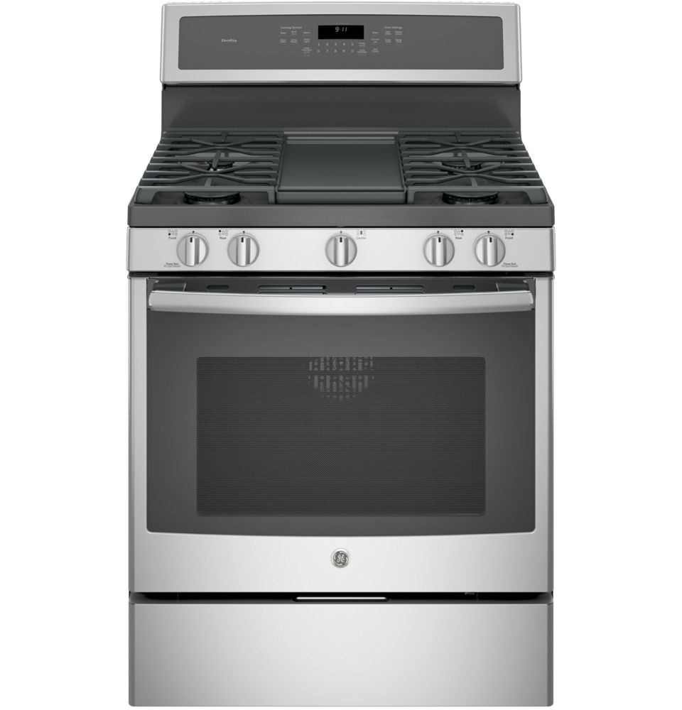 GE 5.6 cu. ft. 30-inch Free-Standing Convection Gas Range with Steam Clean in Stainless Steel