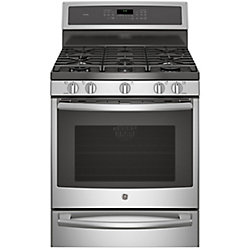 "GE 30"" 5.6 cu. ft. Single Oven Dual Fuel Range with Self-Cleaning Convection Oven in Stainless Steel"