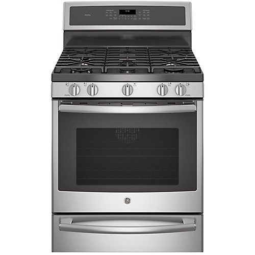 """30"""" 5.6 cu. ft. Single Oven Dual Fuel Range with Self-Cleaning Convection Oven in Stainless Steel"""