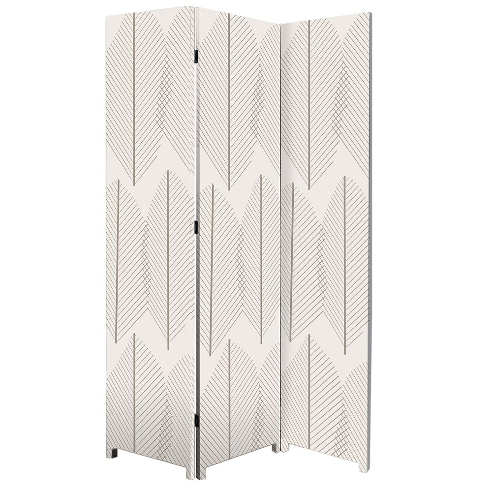 Bota Stretched Canvas Triple Panel Floor Screen Room Divider - Double Sided Artwork - Leaf Design...