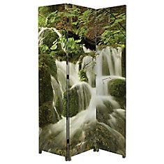 Bota Stretched Canvas Triple Panel Floor Screen Room Divider - Double Sided Artwork - Waterfall Design 47.5x71x1 Inch.