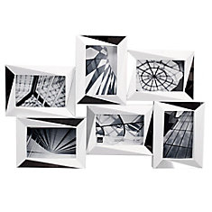 Mira Mirrored 15x22.5 Inch.  White Wall Collage Frame - Holds 6-4x6 Inch.  Photos