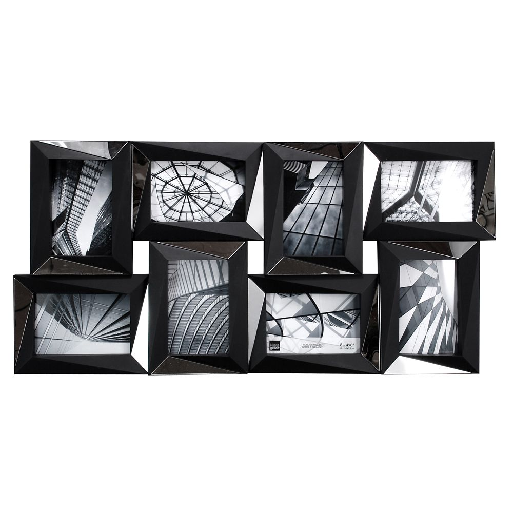Mira Mirrored 15x28 Inch.  Black Wall Collage Frame - Holds 8-4x6 Inch.  Photos