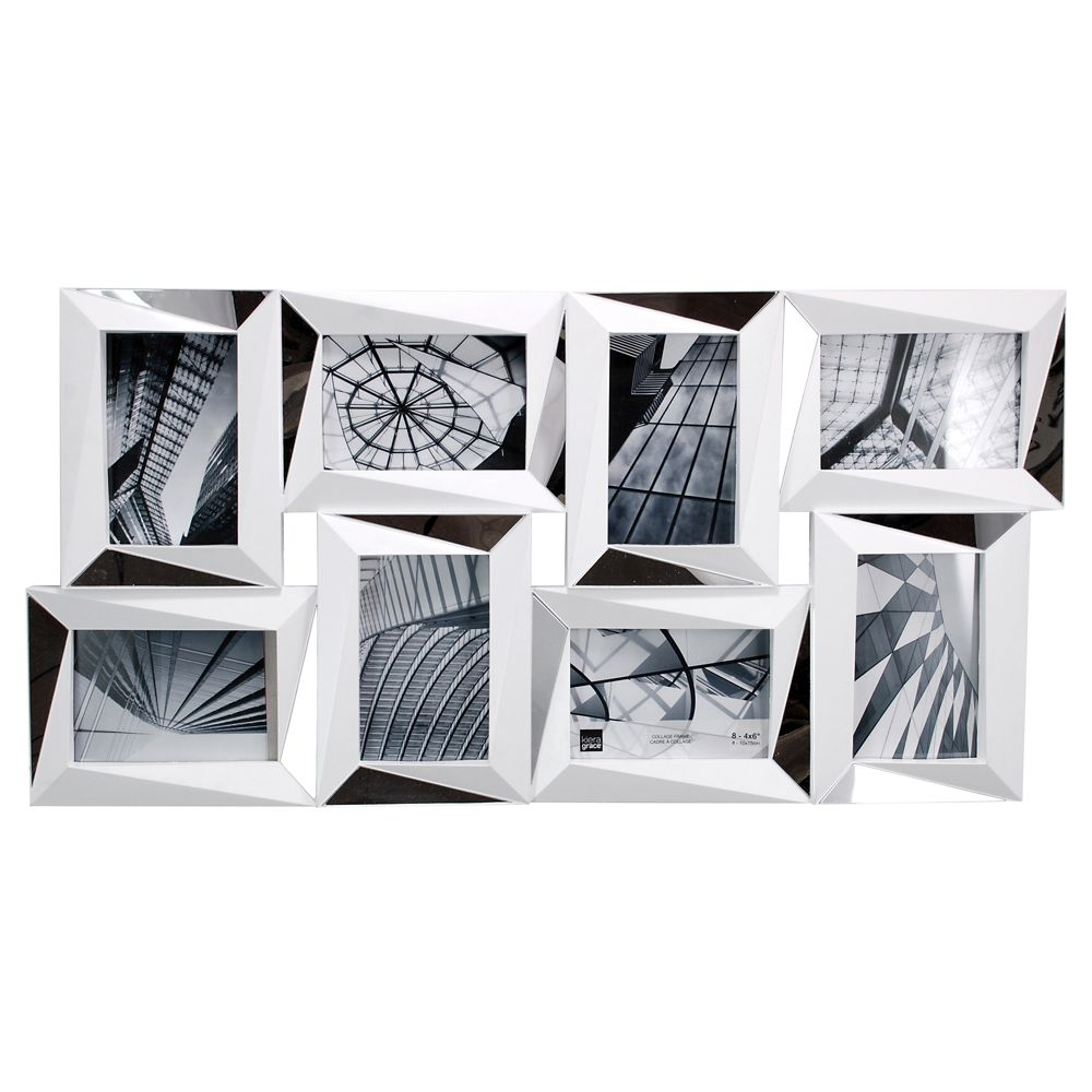 Mira Mirrored 15x28 Inch.  White Wall Collage Frame - Holds 8-4x6 Inch.  Photos