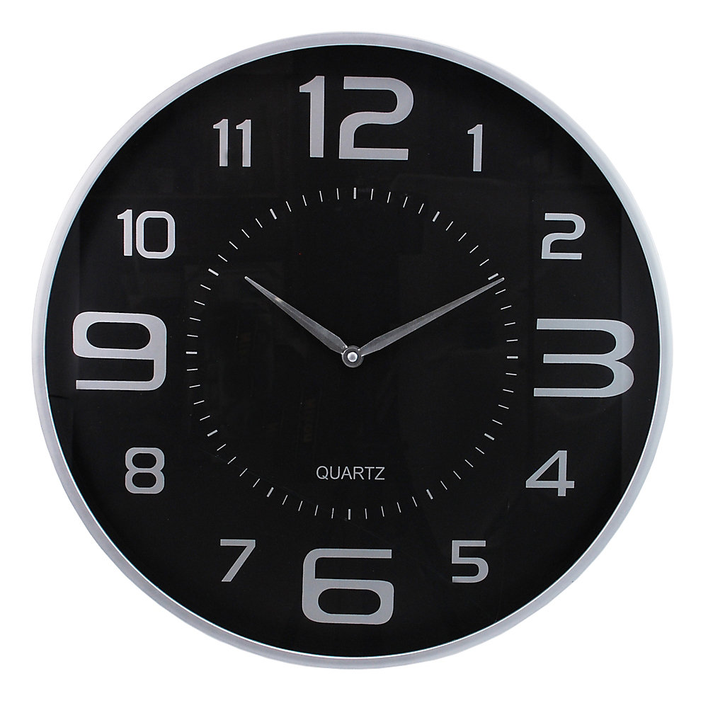 Modern 18 Inch  Wall Clock With Large Dial And Sleek Silver Profile
