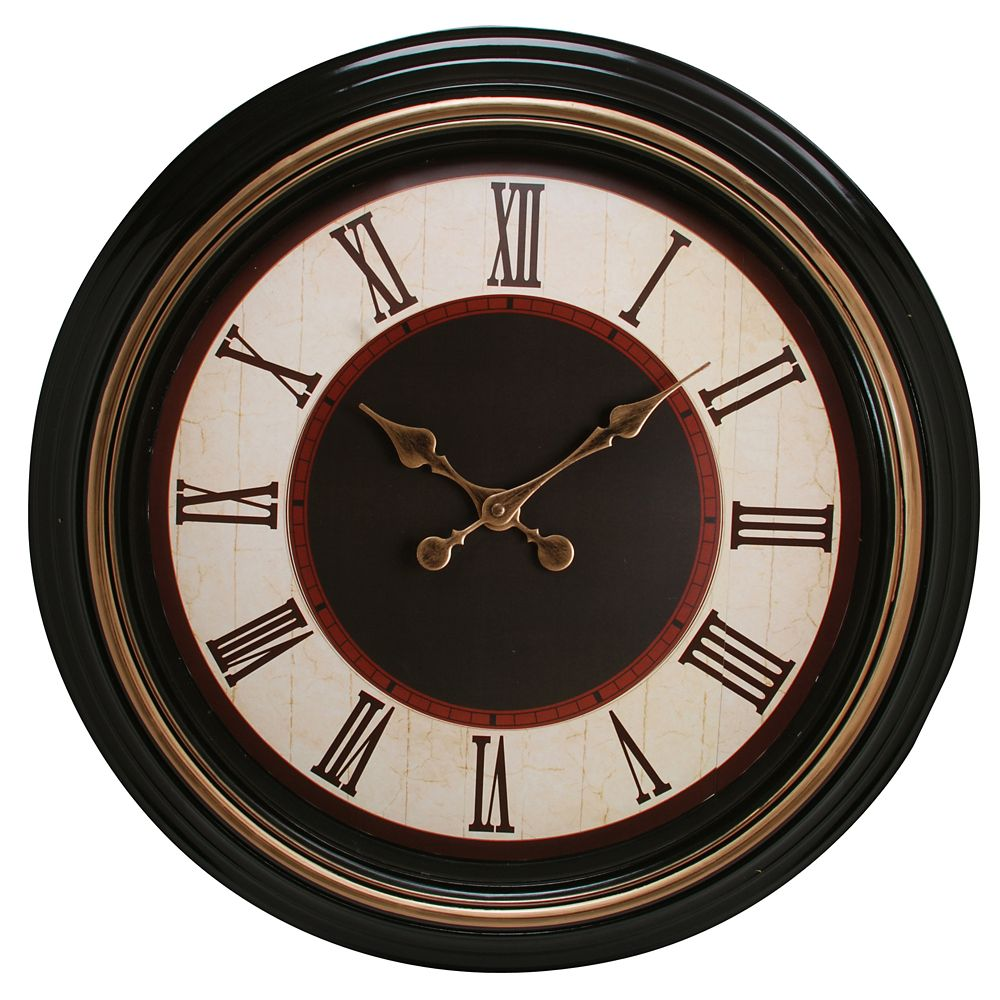 Everett 20 Inch.  Round Wall Clock With Gold Accents And Antique Dial
