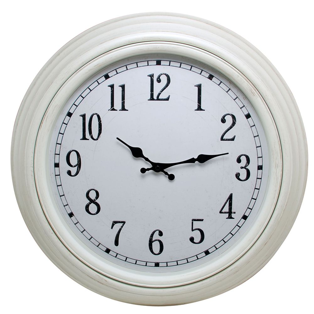Kiera Grace Emmerson 20 Inch.  Round Wall Clock With Distressed White Finish And Weathered Dial
