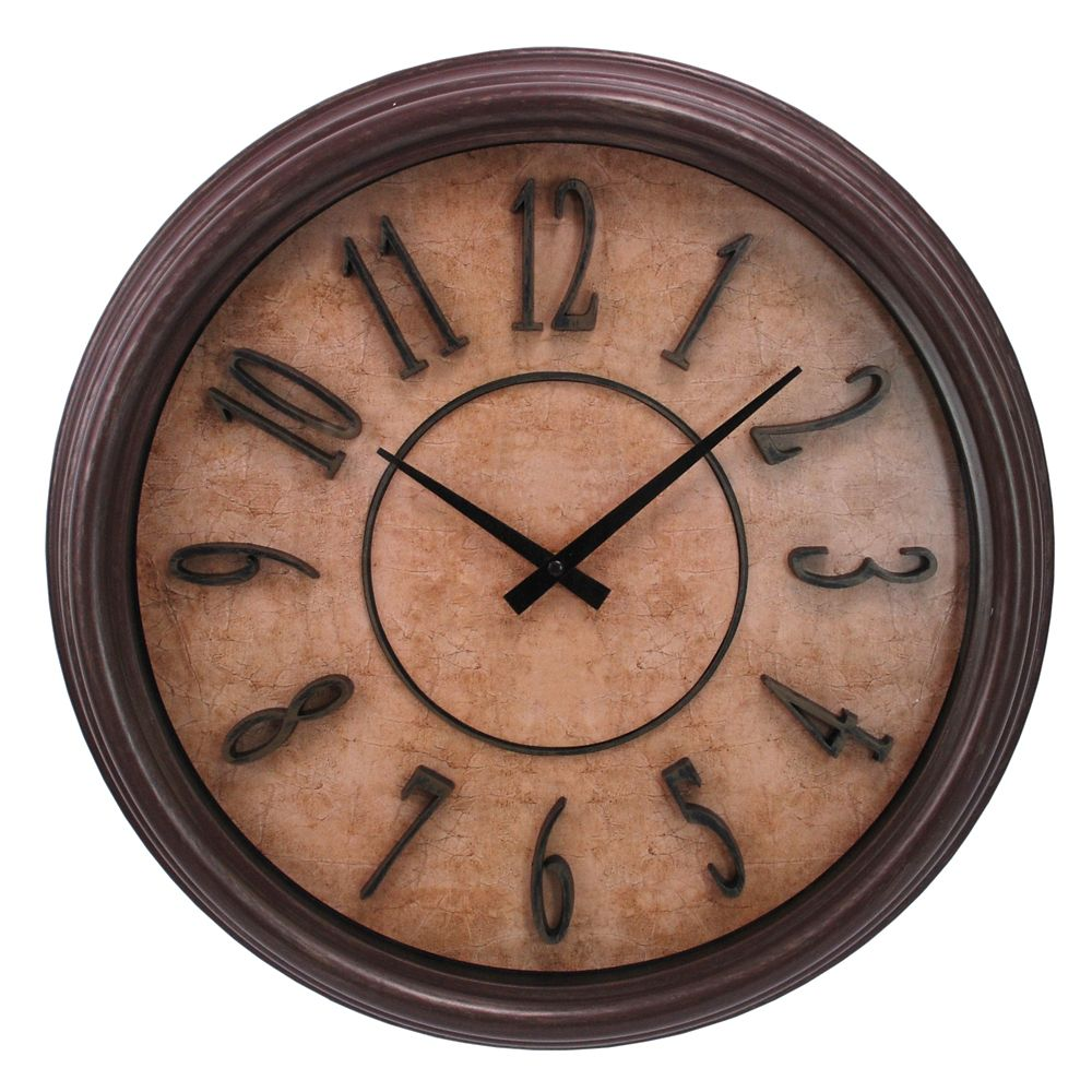 Brown Wood Grain 18 Inch.  Wall Clock With Raised Numbers And Distressed Face