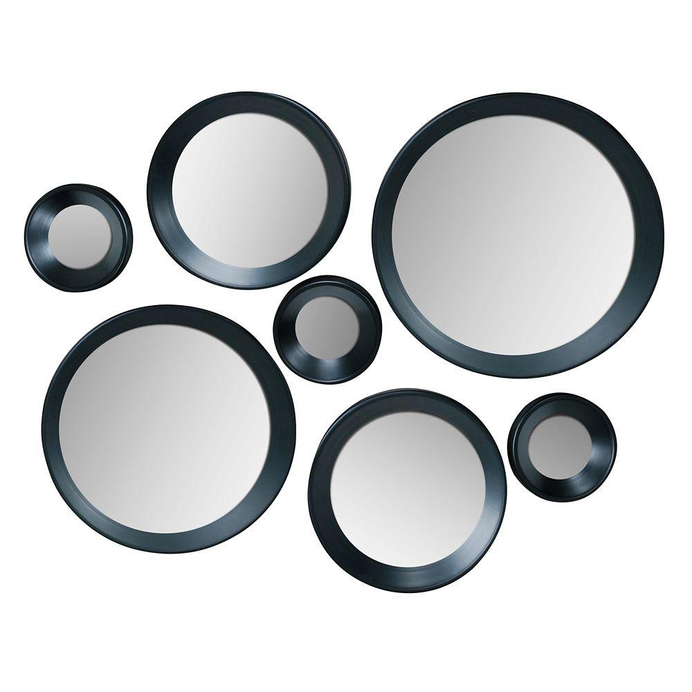 Carla Ensemble de 7 miroirs ronds noirs