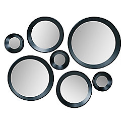 Kiera Grace Carla Set of 7 Black Round Mirrors