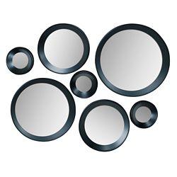 Kiera Grace Carla Ensemble de 7 miroirs ronds noirs