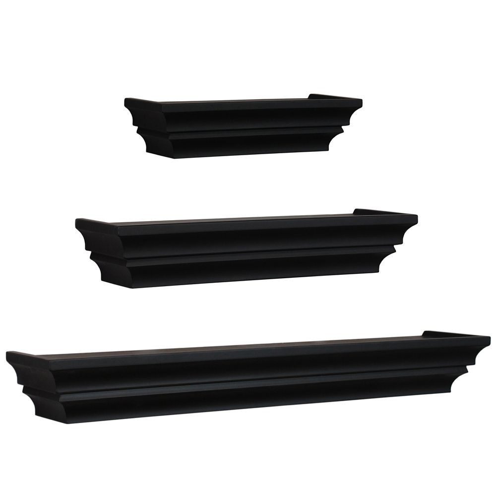 Madison  Set Of 3 Wall Shelf, 12 Inch. , 16 Inch.  & 24 Inch. - Black