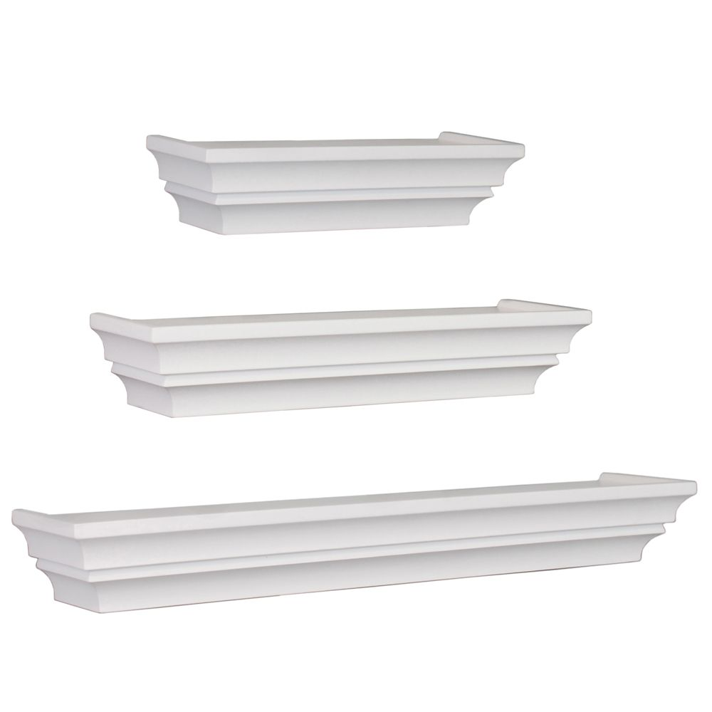 Madison Set Of 3 Wall Shelf, 12 Inch. , 16 Inch. & 24 Inch. - White FN00370-6 Canada Discount
