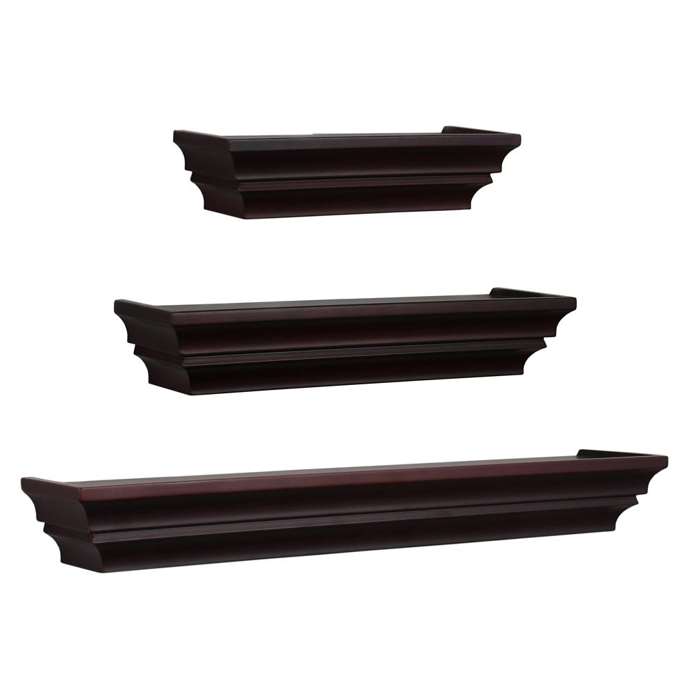 Madison  Set Of 3 Wall Shelf, 12 Inch. , 16 Inch.  & 24 Inch. - Espresso