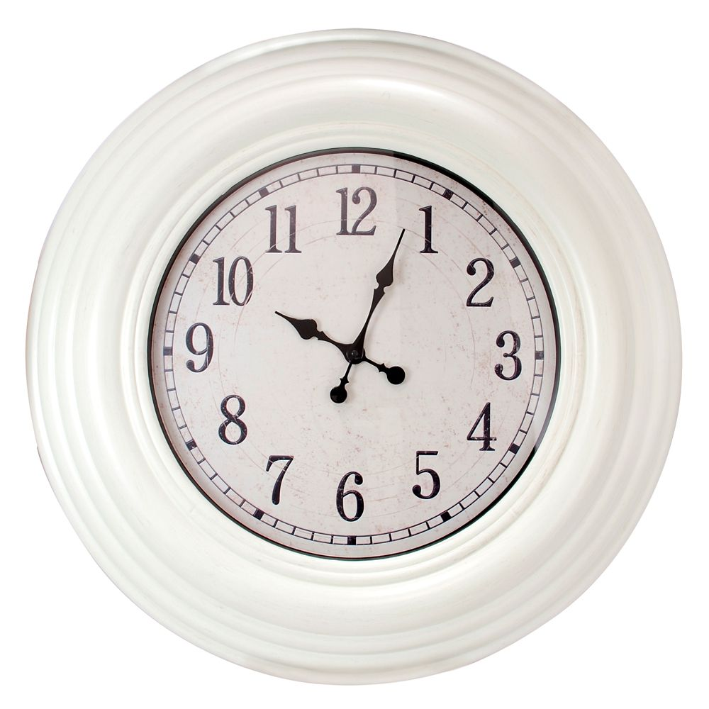 Oversized 28 Inch.  Wall Clock With Distressed White Finish