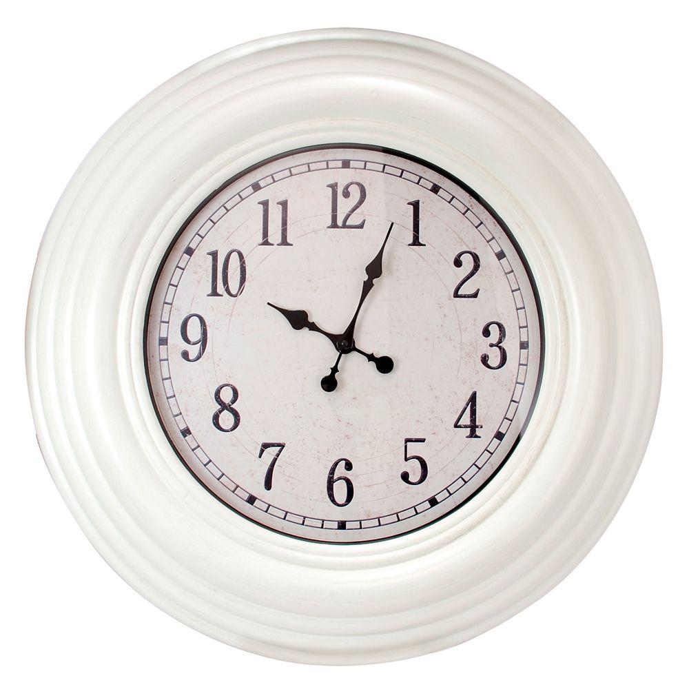Surdimensionné 28 po Horloge murale avec Distressed finition blanc