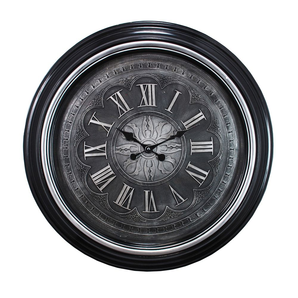 Oversized 23 Inch.  Wall Clock With Raised Roman Numerals In Black Finish And Gold Trim