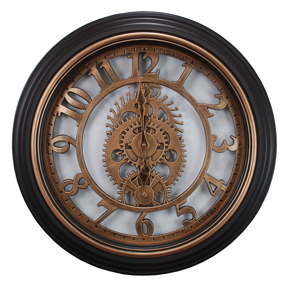 Gears 20 Inch.  Wall Clock In Bronze Finish