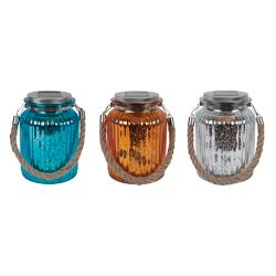 Fusion Solar  Mercury Glass Mason Jar With Rope Handle