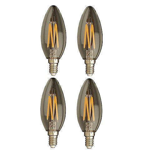 Strak LED 40W Equivalent Clear Filament 2700K Candlelabra E12 CRI90 ES Dimmable LED Light Bulb ENERGY STAR (4-Pack)