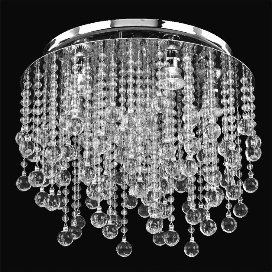Glow Lighting Flush Mount 18 Inch W Crystal Rain 566 Glow