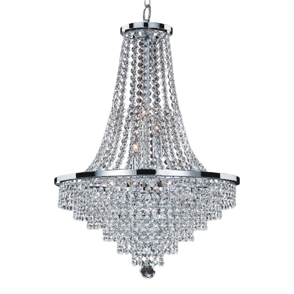 Glow Lighting Veranda 9-Light Silver Pearl Incandescent Chandelier