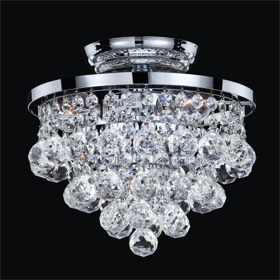 Glow Lighting Vista 3-Light Silver Pearl Incandescent Semi-Flush Mount Light