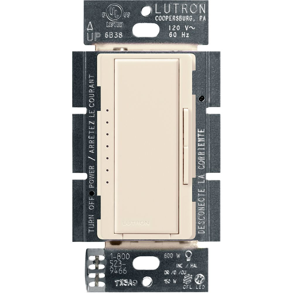 Lutron Maestro Single Pole/3-Way/Multi Location Digital LED/CFL Dimmer, Light Almond