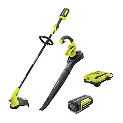 RYOBI 40V Lithium-Ion Cordless String Trimmer and Blower / Sweeper Combo Kit (2-Tool)