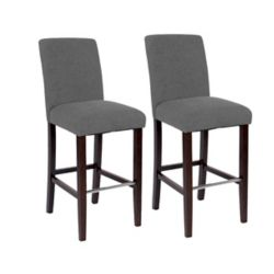 JR Home Collection Harper Solid Wood Brown Traditional Full Back Armless Bar Stool with Grey Polyester Seat - (Set of 2)