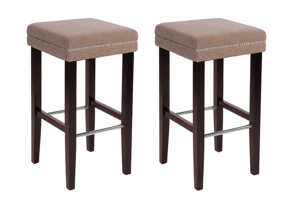 JR Home Collection Sawyer Solid Wood Brown Traditional Backless Armless Bar Stool with Beige Polyester Seat - Set of 2