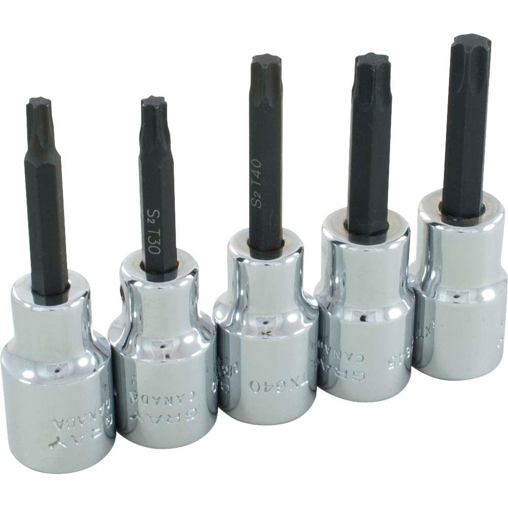 Socket Set Torx Head 5 Pieces 1/2 Inch Drive