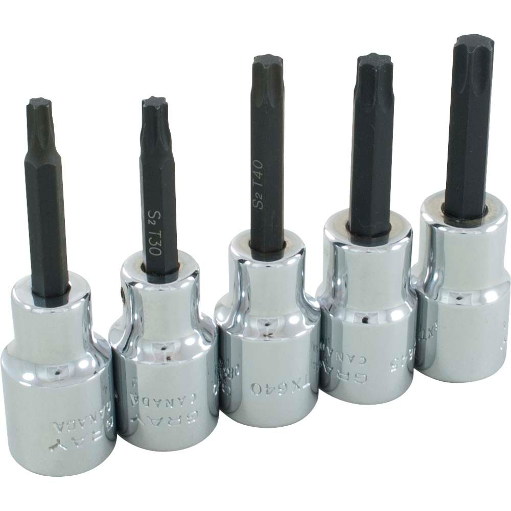 GRAY TOOLS Socket Set Torx Head 5 Pieces 1/2 Inch Drive