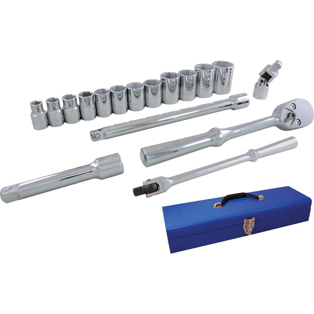 Socket & Attachments Set 17 Pieces 1/2 Inch Drive 6 Point Standard Sae