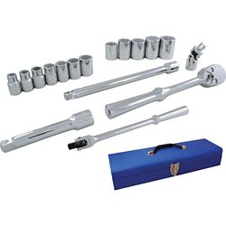 GRAY TOOLS Socket & Attachments Set 17-Piece 1/2 Inch Drive 12 Point Standard Sae