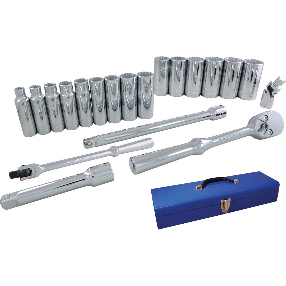 Socket & Attachments Set 20 Pieces 1/2 Inch Drive 12 Point Deep Sae