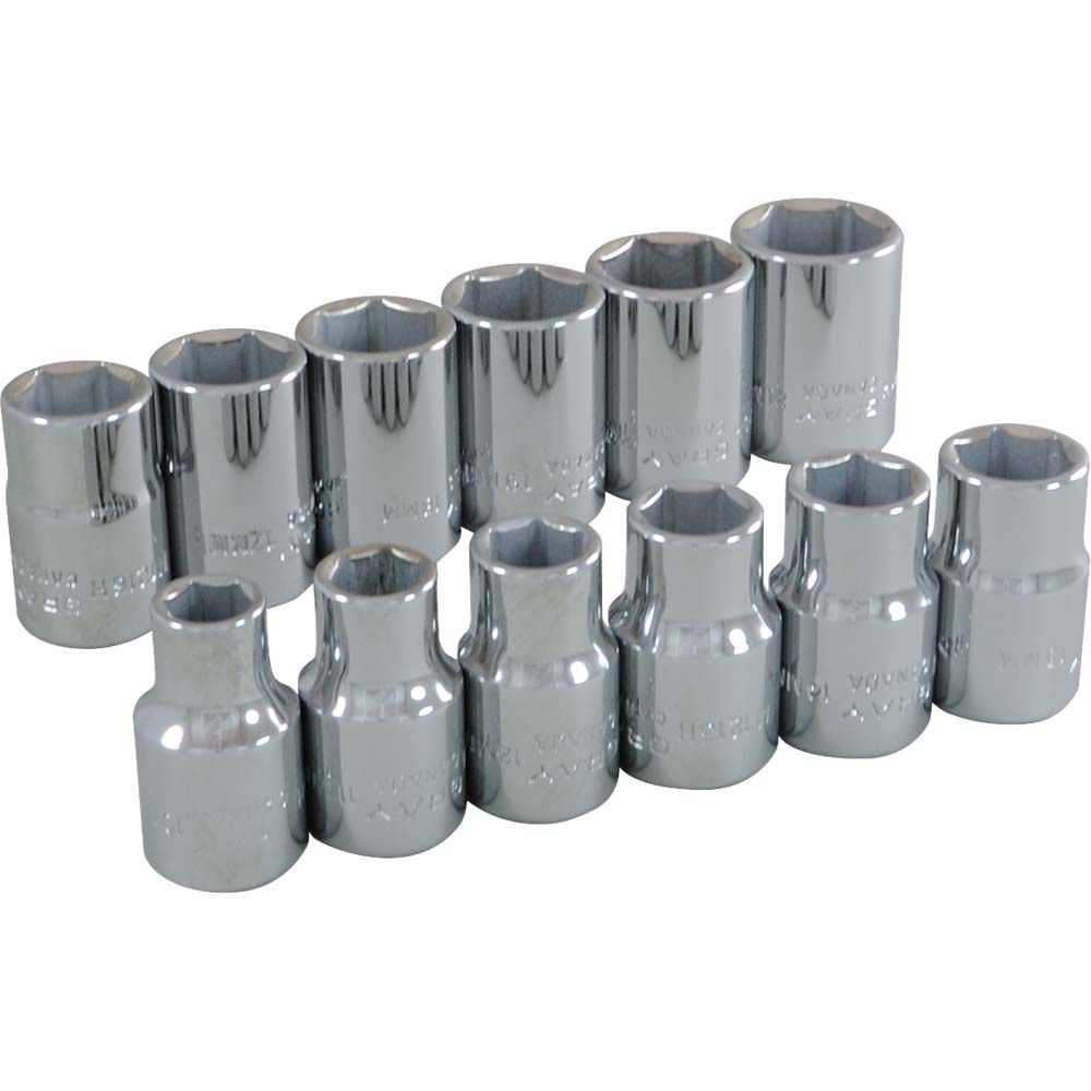 Socket Set 12 Pieces 1/2 Inch Drive 6 Point Standard Metric