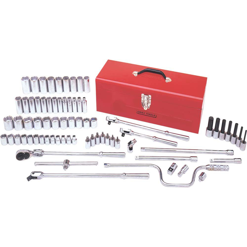 Socket & Attachments Set 74 Pieces 1/2 Inch Drive 6 Point Standard Metric