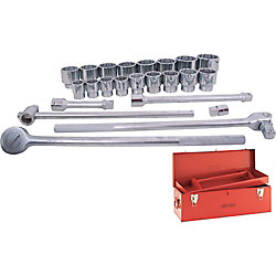 GRAY TOOLS Socket & Attachments Set 24-Piece 1 Inch Drive 12 Point Standard Sae